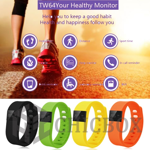 TW64 Bluetooth 4_0 Smart Bracelet with Pedometer Healthy Monito